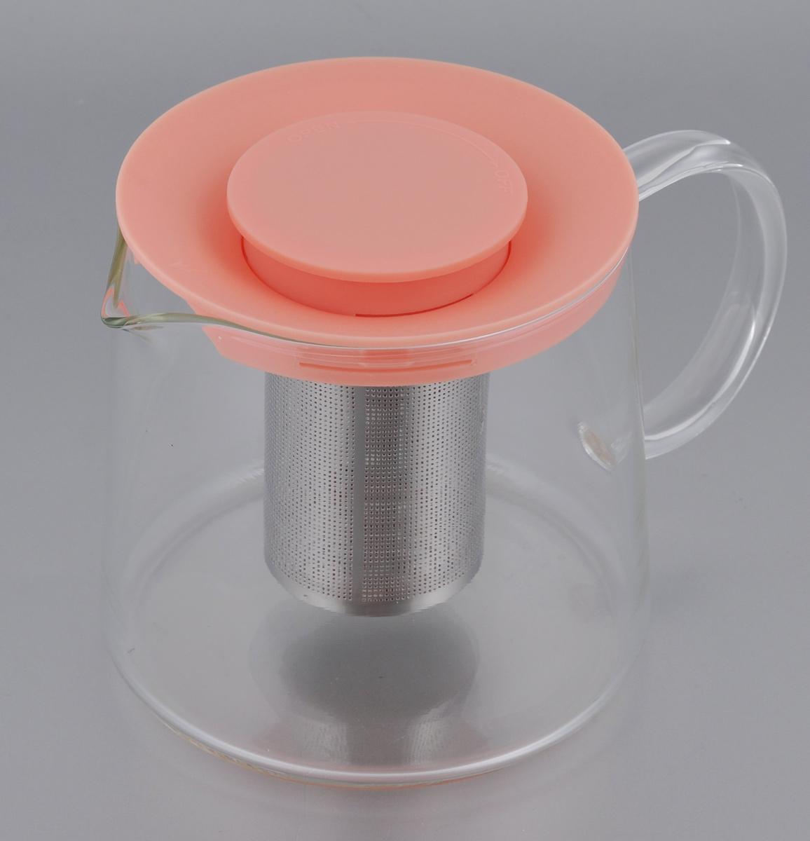 Чайник Идея Камилла, цвет: персиковый, прозрачный, 1 л115510Чайник Идея Камилла прекрасно подходит для заваривания чая, кофе и травяных настоев. Чайник изготовлен из высококачественного жаропрочного стекла, оснащен металлическим фильтром и пластиковой крышкой. Основные достоинства чайника: - возможность регулировать время заваривания, - возможность комбинировать напиток с различными наполнителями (специи, травы), - возможность подогрева напитка на газовой плите (при 180°С). Диаметр (по верхнему краю): 11 см. Диаметр основания: 12,5 см. Высота фильтра: 8 см. Высота чайника: 11,5 см.