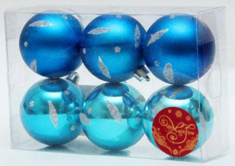 Набор новогодних подвесных украшений Шар, цвет: синий, голубой, диаметр 5 см, 6 шт. 35535RSP-202SНабор новогодних подвесных украшений выполнен из высококачественного пластика в форме шаров и декорирован новогодним орнаментом и блестками. С помощью специальной петельки украшение можно повесить в любом понравившемся вам месте. Но, конечно, удачнее всего такой набор будет смотреться на праздничной елке.Елочная игрушка - символ Нового года. Она несет в себе волшебство и красоту праздника. Создайте в своем доме атмосферу веселья и радости, украшая новогоднюю елку нарядными игрушками, которые будут из года в год накапливать теплоту воспоминаний.