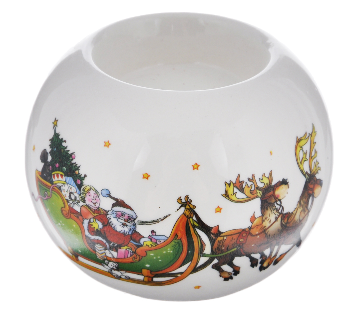 Подсвечник Winter Wings Дед Мороз, 7,5 см х 7,5 см х 5,5 смБрелок для ключейПодсвечник Winter Wings Дед Мороз, изготовленный из керамики, станет прекрасным украшением интерьера помещения в преддверии Нового года. Подсвечник украшен красивым новогодним изображением Деда Мороза на санях. Имеется одно отверстие для чайной свечи (свеча в комплект не входит). Зажигать свечи в Новый год - неизменная традиция, которая позволяет наполнить дом волшебством и таинственностью новогодней ночи.