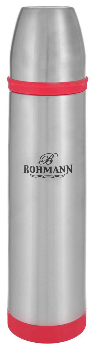 Термос Bohmann, цвет: металлик, красный, 1 л. 4492BHNEWVT-1520(SR)Термос Bohmann выполнен из высококачественной нержавеющей стали с матовой полировкой, пластика и силикона. Двойные стенки сохраняют температуру до 24 часов. Внутренняя колба выполнена из высококачественной нержавеющей стали марки 18/10. Термос имеет вакуумную прослойку между внутренней колбой и внешней стенкой. Специальная термоизоляционная прокладка удерживает тепло. Термос снабжен плотно прилегающей закручивающейся пластиковой пробкой с нажимным клапаном и укомплектован теплоизолированной чашкой из нержавеющей стали. Для того чтобы налить содержимое термоса, нет необходимости откручивать пробку. Достаточно надавить на клапан, расположенный в центре. Легкий и удобный термос Bohmann станет незаменимым спутником в ваших поездках.Диаметр чашки (по верхнему краю): 7,5 см. Высота стенки чашки: 7,5 см. Диаметр горлышка термоса: 5 см. Диаметр основания термоса: 8 см. Высота термоса (с учетом крышки): 32,5 см. Объем: 1 л.