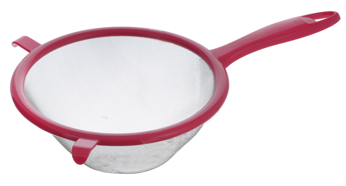 Сито Tescoma Presto, цвет: красный, диаметр 20 см115510Сито Tescoma Presto изготовлено из высококачественной нержавеющей стали и прочного пластика. Изделие снабжено двумя выступами для установки на кастрюлю. Ручка оснащена отверстием для подвешивания на крючок. Сито предназначено для процеживания круп и макарон, просеивания муки, промывания ягод и фруктов. Такое сито станет незаменимым аксессуаром на вашей кухне. Можно мыть в посудомоечной машине. Диаметр сита: 20 см. Длина (с учетом ручки): 33 см.