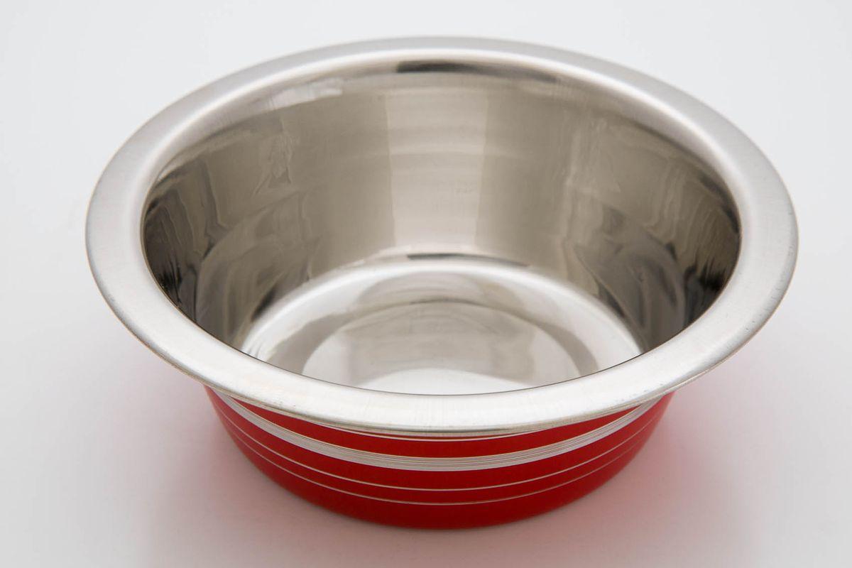 Миска для животных VM, цвет: красный, серебристый, 240 млS10040200_коричневыйМиска для животных VM, изготовленная из высококачественного металла, предназначена для корма и воды. Такая миска обеспечит комфортный прием пищи вашего питомца. Объем: 240 мл.