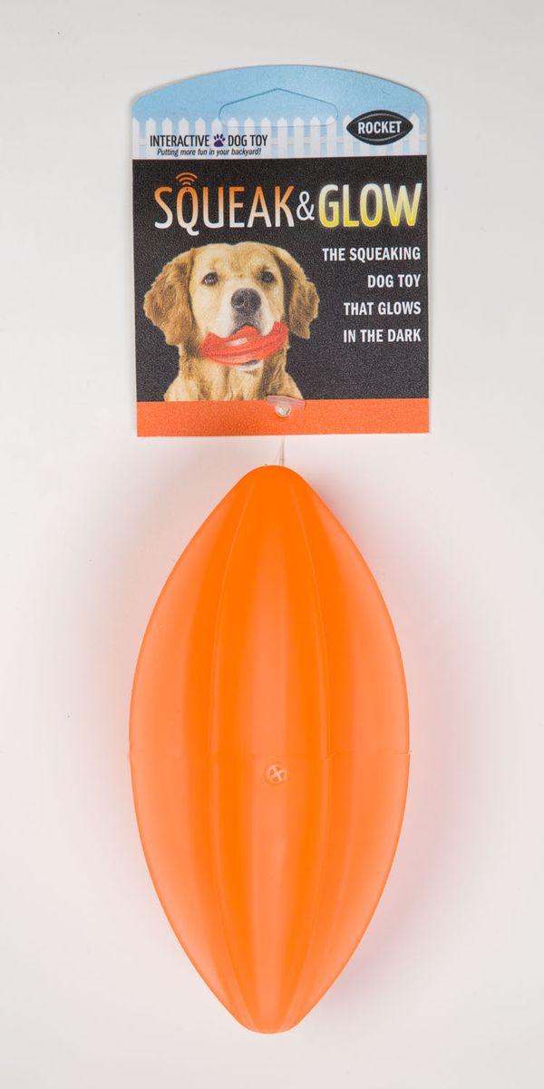 Игрушка для собак Squeak & Glow Светящийся мяч, с пищалкой, цвет: оранжевый9002_зеленыйИгрушка для собак Squeak & Glow Светящийся мяч, выполненная из натурального нетоксичного каучука, снабжена пищалкой. Изделие подходит для игр на улице в вечернее время, так как светится в темноте и его хорошо видно в траве и листве.Игрушка Squeak & Glow Светящийся мяч - отличная альтерналива обычным палкам.
