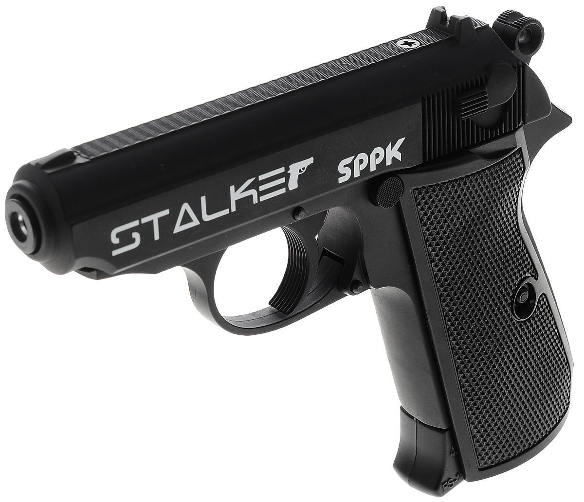 Пистолет пневматический Stalker SPPK, цвет: черныйST-21061PПневматический пистолет Stalker SPPK. Боевой прототип - легендарный пистолет Walther PPK/S. Пистолет Stalker SPPK разрабатывался с учетом многолетнего опыта использования современных пневматических систем и изучения потребностей покупателей. Пистолет имеет подробную инструкцию на русском языке, сопровождающуюся картинками в качестве примера. На обратной стороне коробки приведена подробнейшая информация по ТТХ модели.Stalker SPPK – это компактный и отлично сбалансированный пневматический пистолет, по своей конструкции являющийся аналогом всемирно известного Walther PPK/S. Система стрельбы данного пистолета – полуавтоматическая. Stalker SPPK подходит для учебной и развлекательной стрельбы. Он оснащен системой blowback. Суть ее заключается в том, что после нажатия на спусковой крючок и выталкивания газом шарика из ствола пистолета газ движется в противоположном направлении, заставляя перемещаться затвор конструкции. Другими словами, система blowback имитирует отдачу боевого пистолета, делая стрельбу более реалистичной.Характеристики пистолета:- баллон: СО2, 12 г- емкость магазина: 13 шариков + 1- дульная энергия: до 3 Дж- скорость снаряда: до 120 м/с- система стрельбы: полуавтоматический- длина пистолета: 155 мм- опасная дистанция: до 205 м- вес без упаковки: 700 г.Комплектация:- пистолет- магазин- инструкцияПредупреждение: Не игрушка! Внимание: Перед использованием прочитать все инструкции. Обращаться с изделием, как и с оружием. Всегда направлять в безопасную сторону как указано в инструкции. Храните инструкцию в безопасном месте для дальнейшего ее использования. Необходим надзор взрослых. Неправильное или небрежное использование может привести к серьезным травмам или смерти. Может быть опасным до 205 м. Данная пневматика разрешена к использованию лицами, достигшими 18 лет и старше. Перед использованием прочтите все инструкции. Пользователь должен соответствовать всем требованиям, установленным всеми законами