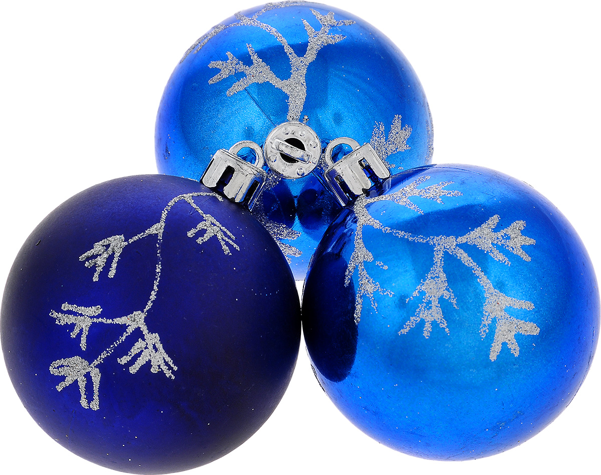 Набор новогодних подвесных украшений EuroHouse Веточки, цвет: синий, серебристый, диаметр 6 см, 3 шт1501-0193Набор новогодних подвесных украшений EuroHouse прекрасно подойдет для праздничного декора новогодней ели. Набор состоит из 2 пластиковых украшений в виде глянцевых шаров и 1 матового.Для удобного размещения на елке для каждого изделия предусмотрена текстильная петелька.Елочная игрушка - символ Нового года. Она несет в себе волшебство и красоту праздника. Создайте в своем доме атмосферу веселья и радости, украшая новогоднюю елку нарядными игрушками, которые будут из года в год накапливать теплоту воспоминаний.