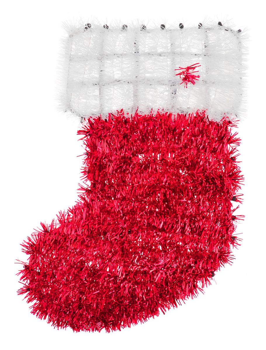 Новогоднее декоративное украшение EuroHouse Носок, цвет: красный, белый, 33 см х 22 см185492Новогоднее украшение EuroHouse Носок имеет прочный пластиковый каркас, декорированный мишурой. Такой носок дополнит интерьер любого помещения, а также может стать оригинальным подарком для ваших друзей и близких. Оформление помещения декоративным украшением создаст праздничную и теплую атмосферу.Новогодние украшения всегда несут в себе волшебство и красоту праздника. Создайте в своем доме атмосферу тепла, веселья и радости, украшая его всей семьей.
