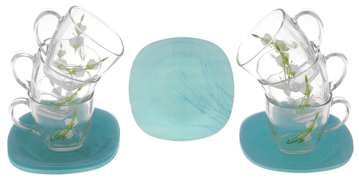 Набор чайный Luminarc Sofiane, цвет: голубой, прозрачный, 12 предметовVT-1520(SR)Чайный набор Luminarc Sofiane изготовлен из высококачественного стекла. Набор состоит из шести чашек, декорированных цветочным узором, и шести блюдец. Элегантный дизайн и совершенные формы предметов набора привлекут к себе внимание и украсят интерьер вашей кухни.Чайный набор Luminarc Sofiane идеально подойдет для сервировки стола и станет отличным подарком к любому празднику.Можно использовать в микроволновой печи и мыть в посудомоечной машине. Объем чашек: 200 мл.Диаметр чашек по верхнему краю: 7,5 см.Высота чашек: 7,5 см.Размер блюдец: 13 см х 13 см х 1,5 см.