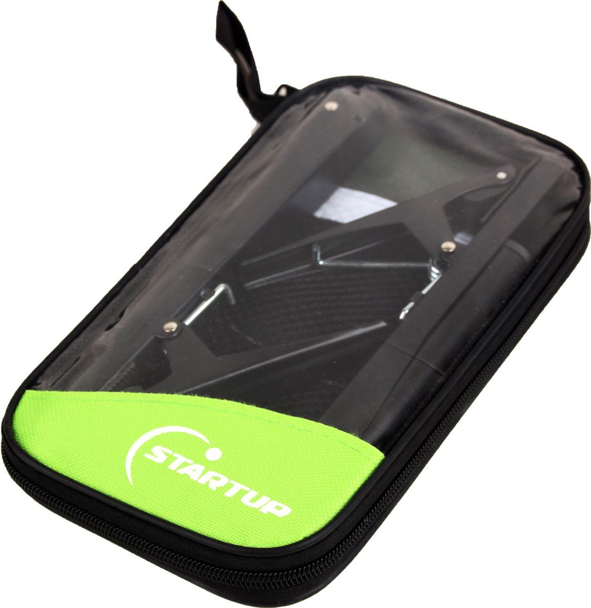 Сетка для настольного тенниса с крепежом START UP, цвет: черный, салатовый. W203S230925Сетка для настольного тенниса с крепежом START UP W203S. Система крепления: Clip (зажим).