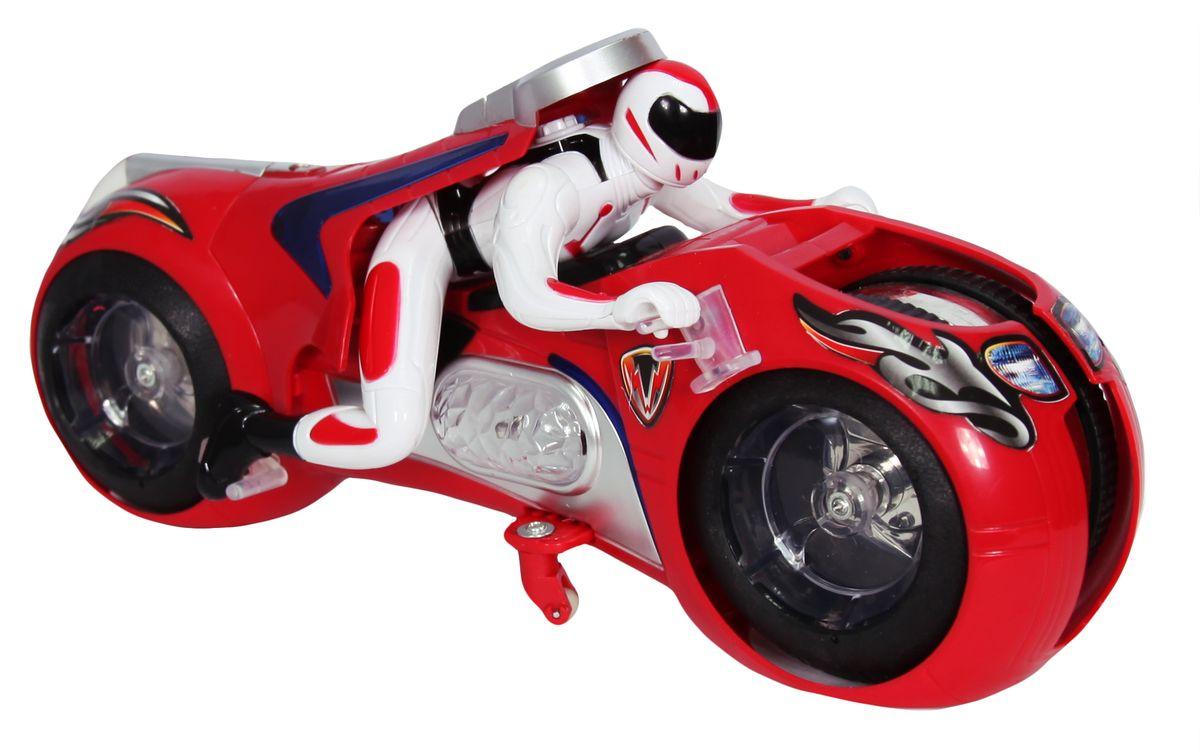 """Мотоцикл на радиоуправлении """"Max Steel"""" несомненно понравится любому мальчишке. Детализированный корпус модели изготовлен из пластика, колесики прорезинены, что обеспечивает надежное сцепление с любой гладкой поверхностью. Пульт управления позволяет мотоциклу двигаться, вперед, назад, влево и вправо, а съемная фигурка мотоциклиста наклоняется и поворачивается в соответствии с направлением движения. Во время движения колесики и корпус мотоцикла светятся красивым голубым светом. Ваш ребенок часами будет играть с моделью, придумывая различные истории и устраивая соревнования. Порадуйте его таким замечательным подарком! Для работы мотоцикла необходим аккумулятор (входит в комплект). Для работы пульта управления необходима 1 батарейка типа """"Крона (входит в комплект)."""