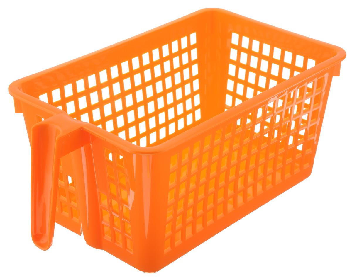 Корзинка универсальная Econova, с ручкой, цвет: оранжевый, 28 х 16 х 12 см41619Универсальная корзинка Econova изготовлена из высококачественного пластика и предназначена для хранения и транспортировки вещей. Корзинка подойдет как для пищевых продуктов, так и для ванных принадлежностей и различных мелочей. Изделие оснащено ручкой для более удобной транспортировки. Стенки корзинки оформлены перфорацией, что обеспечивает естественную вентиляцию. Универсальная корзинка Econova позволит вам хранить вещи компактно и с удобством.