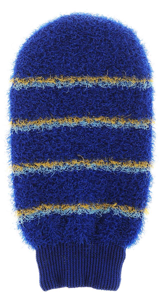Мочалка-рукавица массажная Riffi, цвет: синий343_молочныйМочалка-рукавица Riffi идеально подходит для интенсивного массажа и пилинга. Цветные полоски из более жесткого материала хорошо освобождают кожу от ороговелостей и отмерших клеток, делая ее гладкой и упругой. Интенсивный слегка пощипывающий массаж тела с применением мочалки Riffi стимулирует кровообращение, активирует кровоснабжение и улучшает общее самочувствие, борется с болями и спазмами в мышцах. В результате у вас мягкая, гладкая и чистая кожа, мочалка помогает бороться с целлюлитом, предотвращает появление огрубевшей кожи и вросших волос. Riffi приносит приятное расслабление всему организму. Варежка необычайно гигиенична и долговечна.