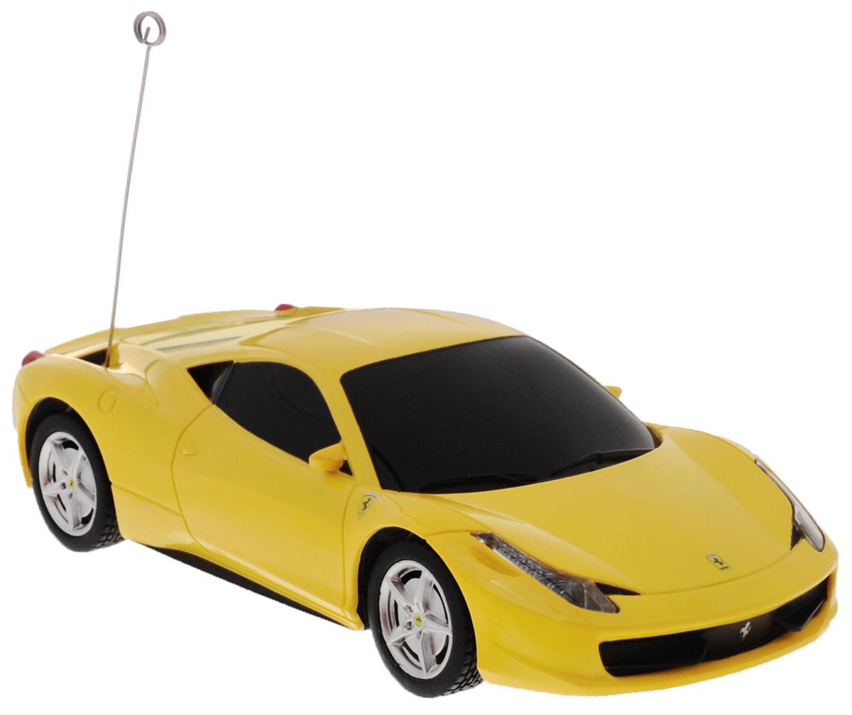 """Радиоуправляемая модель Rastar """"Ferrari 458 Italia"""" станет отличным подарком любому мальчику! Все дети хотят иметь в наборе своих игрушек ослепительные, невероятные и модные автомобили на радиоуправлении. Тем более, если это автомобиль известной марки с проработкой всех деталей, удивляющий приятным качеством и видом. Одной из таких моделей является автомобиль на радиоуправлении Rastar """"Ferrari 458 Italia"""". Это точная копия настоящего авто в масштабе 1:32. Авто обладает неповторимым провокационным стилем и спортивным характером. Потрясающая маневренность, динамика и покладистость - отличительные качества этой модели. Возможные движения: вперед, назад, вправо, влево, остановка. При движении загораются фары и стоп-сигналы. Пульт управления работает на частоте 40 MHz. Для работы машины необходимы 2 батарейки типа АА (не входят в комплект). Для работы пульта управления необходимы 2 батарейки типа АА (не входят в комплект)."""