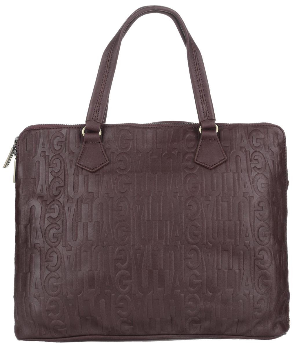Сумка-папка мужская Giulia, цвет: темно-коричневый. 31262S76245Мужская сумка-папка для документов Giulia выполнена из натуральной кожи с декоративным тиснением. Сумка имеет одно основное отделение, закрывающееся на застежку-молнию. Внутри находится прорезной карман на застежке-молнии и открытый пришивной карман с двумя перегородками. Снаружи на задней стенке располагается прорезной карман на застежке-молнии. Изделие оснащено двумя удобными ручками. Сумка вмещает документы формата A4. Функциональная вместительная сумка-папка станет стильным аксессуаром для делового мужчины.