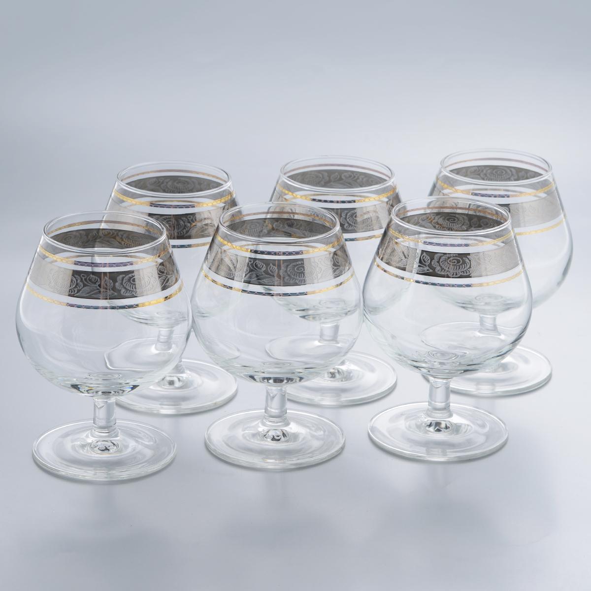 Набор бокалов для бренди Гусь-Хрустальный Первоцвет, 250 мл, 6 штVT-1520(SR)Набор Гусь-Хрустальный Первоцвет состоит из 6 бокалов, изготовленных из высококачественного натрий-кальций-силикатного стекла. Изделия оформлены красивым зеркальным покрытием и прозрачным узором. Бокалы предназначены для подачи бренди. Такой набор прекрасно дополнит праздничный стол и станет желанным подарком в любом доме. Разрешается мыть в посудомоечной машине. Диаметр бокала (по верхнему краю): 5,5 см. Высота бокала: 11 см. Диаметр основания бокала: 6,7 см.