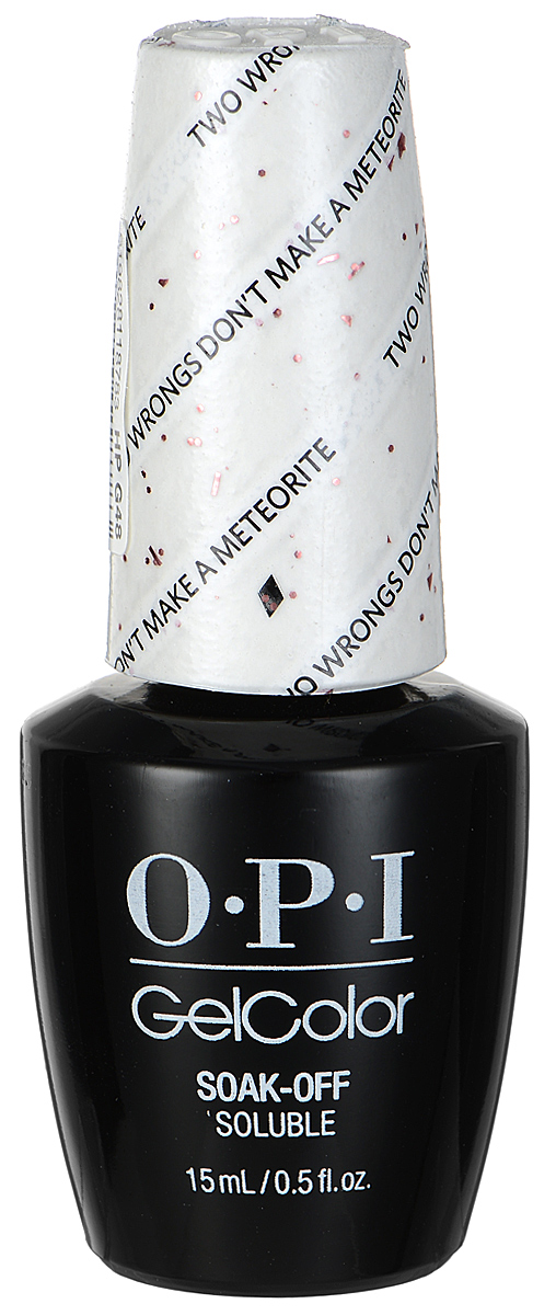 OPI Гель-лак GelColor, тон Two Wrongs Dont Make a Meteorite, 15 мл2101-WX-01Гель-лак OPI GelColor - это 100% гель в лаковом флаконе! В отличие от гелей-лаков, из-за отсутствия лаковой составляющей GelColor не подвержен сколам и трещинам. Светоотверждение в LED-лампе происходит за 30 секунд, а за 2 минуты в стандартной UV-лампе. Не требует шлифовки ногтей перед нанесением и опиливания при снятии. Снимается с помощью отмачивания за 15 минут. Не содержит ацетона, который может проникать в верхний слой ногтя и портить его. Не тускнеет и не выгорает под солнцем, сохраняя блеск до процедуры снятия.Товар сертифицирован.