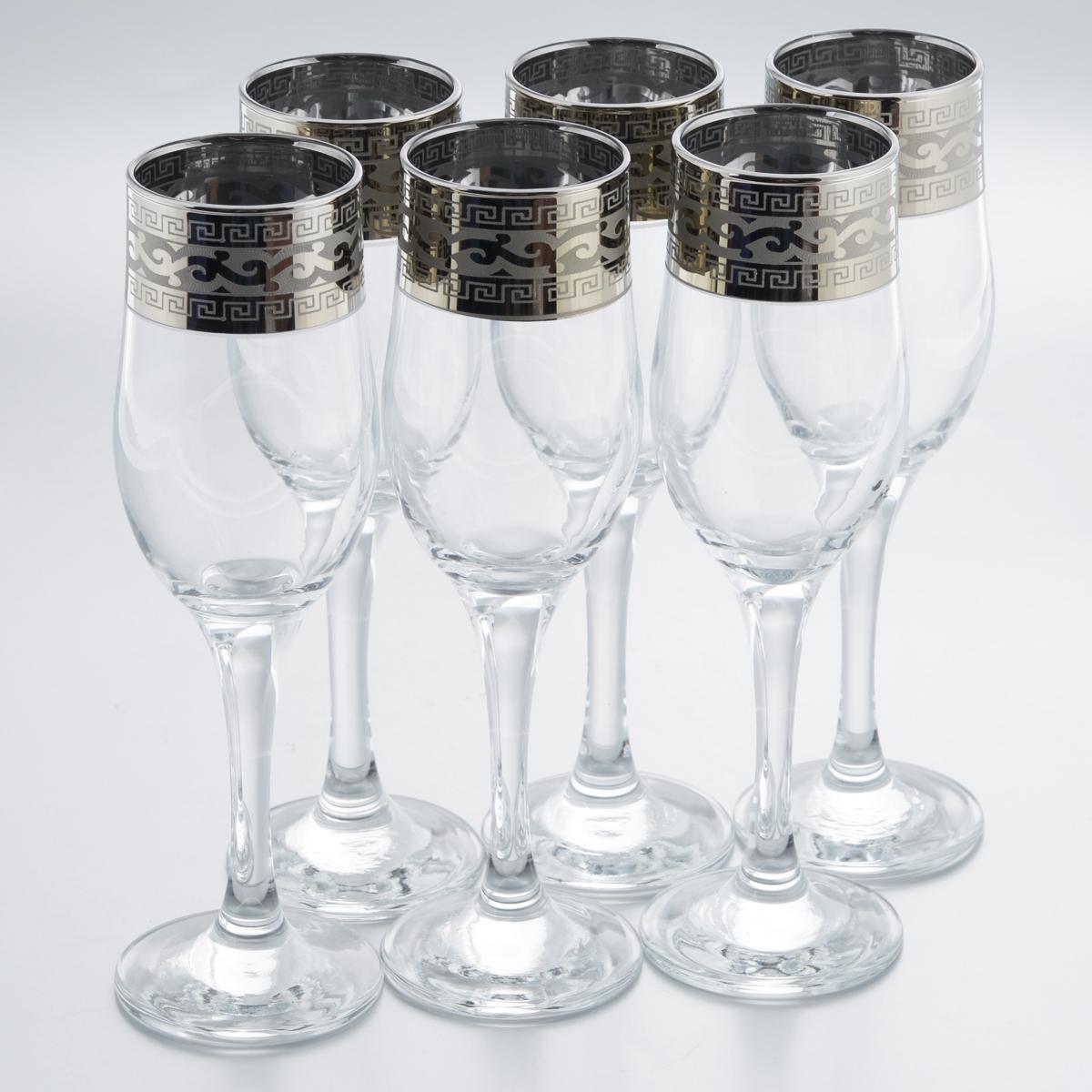 Набор бокалов Гусь-Хрустальный Версаче, 200 мл, 6 штVT-1520(SR)Набор Гусь-Хрустальный Версаче состоит из 6 бокалов на длинных тонких ножках, изготовленных из высококачественного натрий-кальций-силикатного стекла. Изделия оформлены красивым зеркальным покрытием и белым матовым орнаментом. Бокалы предназначены для шампанского или вина. Такой набор прекрасно дополнит праздничный стол и станет желанным подарком в любом доме. Разрешается мыть в посудомоечной машине. Диаметр бокала (по верхнему краю): 5 см. Высота бокала: 20 см.