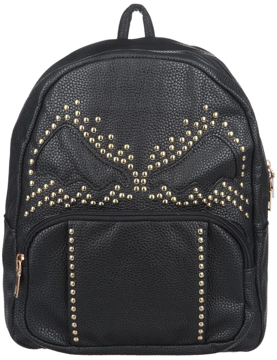 Рюкзак женский Leighton, цвет: черный. 8606S76245Стильный женский рюкзак Leighton выполнен из мягкой искусственной кожи с фактурным тиснением и оформлен металлическими заклепками.Изделие содержит одно основное отделение, закрывающееся на застежку-молнию. Внутри имеются накладной открытый карман. Снаружи на передней стенке располагается накладной карман на застежке-молнии.Модель оснащена двумя лямками, которые регулируются по длине, и удобной ручкой.Оригинальный рюкзак подчеркнет вашу уверенность в себе и чувство стиля.