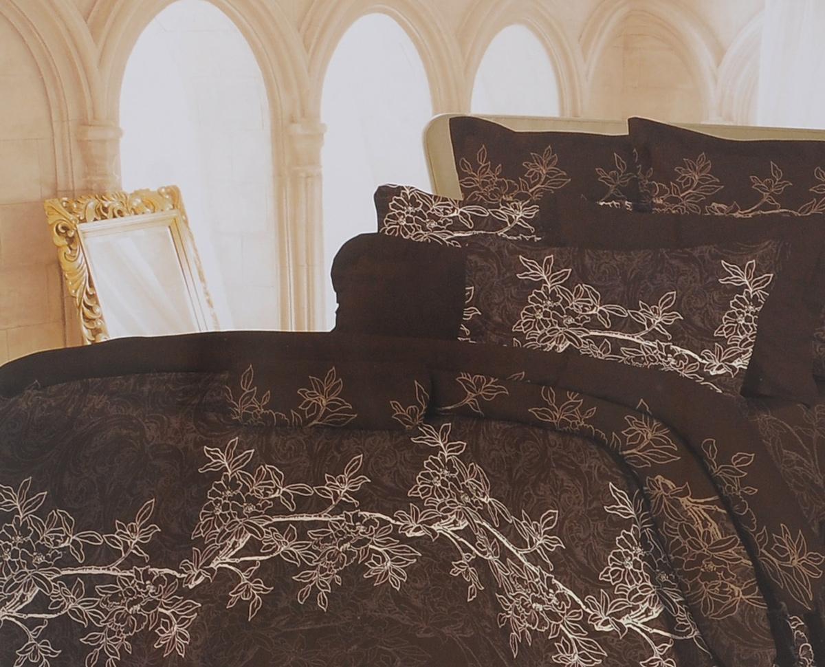 Комплект белья Romantic Милена, 1,5-спальный, наволочки 70х70, цвет: темно-коричневый. 326080391602Роскошный комплект постельного белья Romantic Милена выполнен из ткани Lux Cotton, произведенной из натурального длинноволокнистого мягкого 100% хлопка. Ткань приятная на ощупь, при этом она прочная, хорошо сохраняет форму и легко гладится. Комплект состоит из пододеяльника, простыни и двух наволочек, оформленных цветочный принтом. Постельное белье Romantic создано специально для утонченных и романтичных натур. Дизайн постельного белья подчеркнет ваш индивидуальный стиль и создаст неповторимую и романтическую атмосферу в вашей спальне.