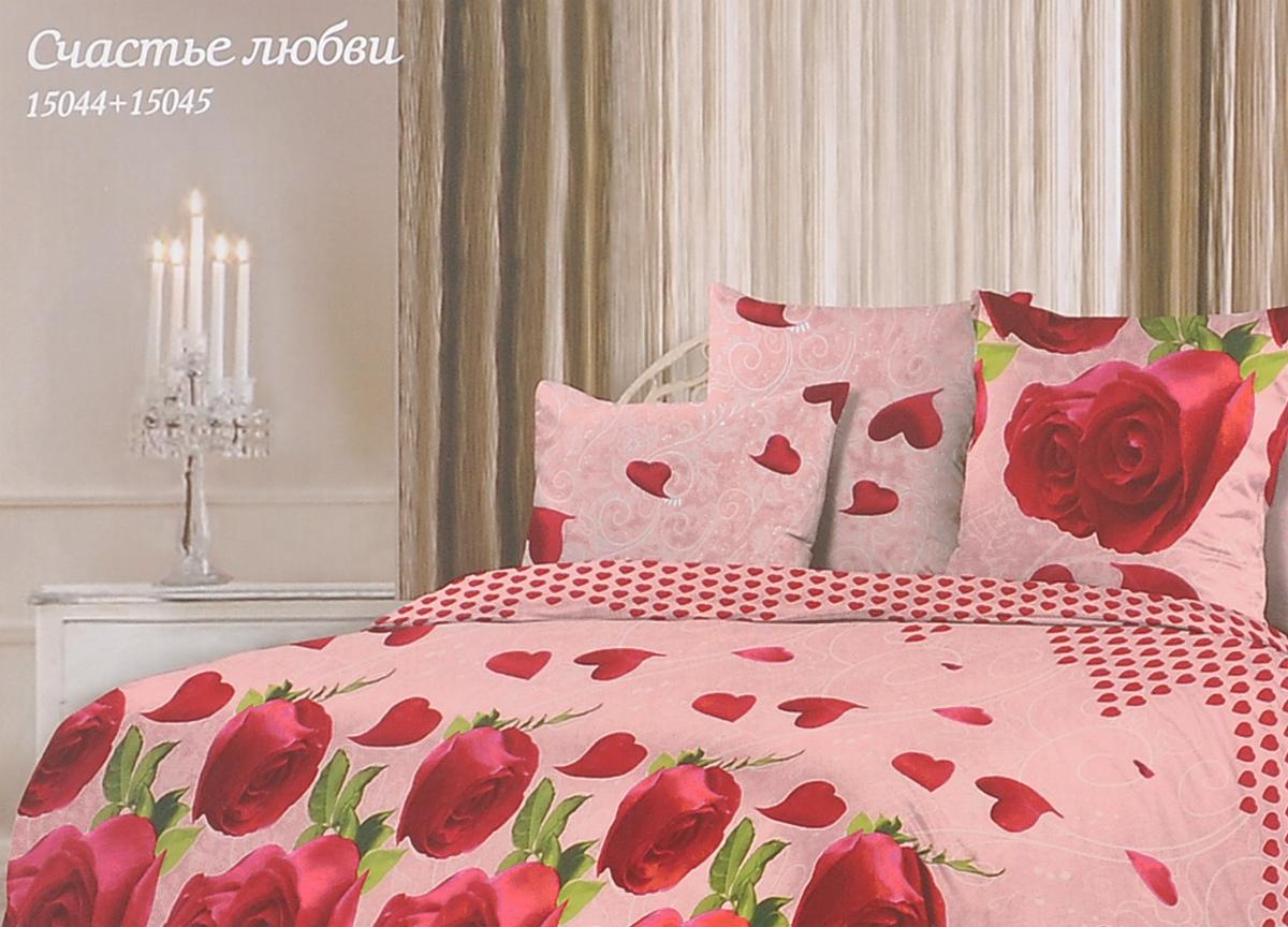 Комплект белья Romantic Счастье любви, евро, наволочки 70х70, цвет: розовый, красный. 314938191497Роскошный комплект постельного белья Romantic Счастье любви выполнен из ткани Lux Cotton, произведенной из натурального длинноволокнистого мягкого 100% хлопка. Ткань приятная на ощупь, при этом она прочная, хорошо сохраняет форму и легко гладится. Комплект состоит из пододеяльника, простыни и двух наволочек, оформленных цветочным принтом. Постельное белье Romantic создано специально для утонченных и романтичных натур. Дизайн постельного белья подчеркнет ваш индивидуальный стиль и создаст неповторимую и романтическую атмосферу в вашей спальне.