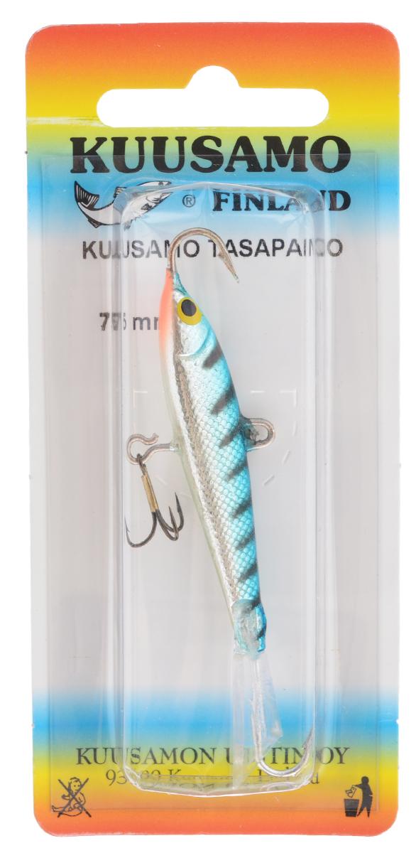 Балансир Kuusamo Tasapaino, с тройником, цвет: бирзовый, серебряный, 7,5 см46086Kuusamo Tasapaino - это классический балансир, проверенный временем. Традиционно высокое качество изготовления гарантирует улов. Балансир Kuusamo Tasapaino отлично подойдет для ловли окуня, судака, берша и щуки. Изделие комплектуется одинарными крючками и подвесным тройником.