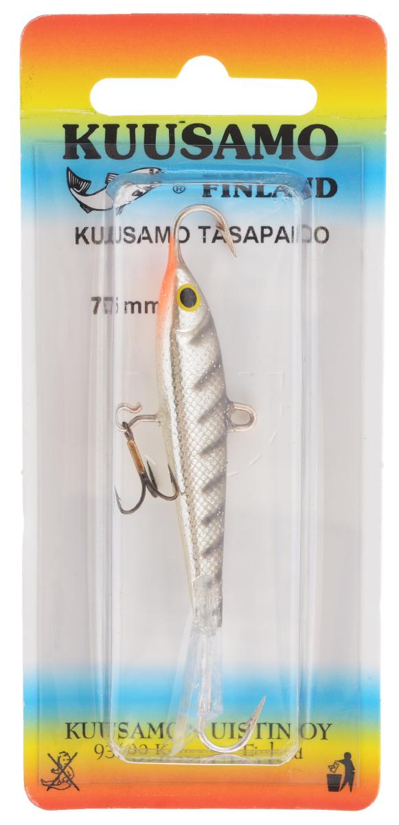 Балансир Kuusamo Tasapaino, с тройником, цвет: черный, серебряный, оранжевый, 7,5 см54043Kuusamo Tasapaino - это классический балансир, проверенный временем. Традиционно высокое качество изготовления гарантирует улов. Балансир Kuusamo Tasapaino отлично подойдет для ловли окуня, судака, берша и щуки. Изделие комплектуется одинарными крючками и подвесным тройником.