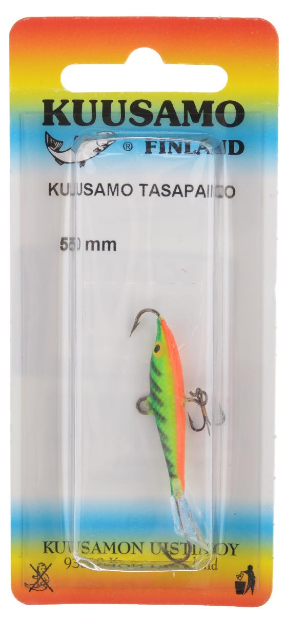 Балансир Kuusamo Tasapaino, с тройником, цвет: зеленый, желтый, оранжевый, 5 смENDEAVOR ED II 8420Kuusamo Tasapaino - это классический балансир, проверенный временем. Традиционно высокое качество изготовления гарантирует улов. Балансир Kuusamo Tasapaino отлично подойдет для ловли окуня, судака, берша и щуки. Изделие комплектуется одинарными крючками и подвесным тройником.