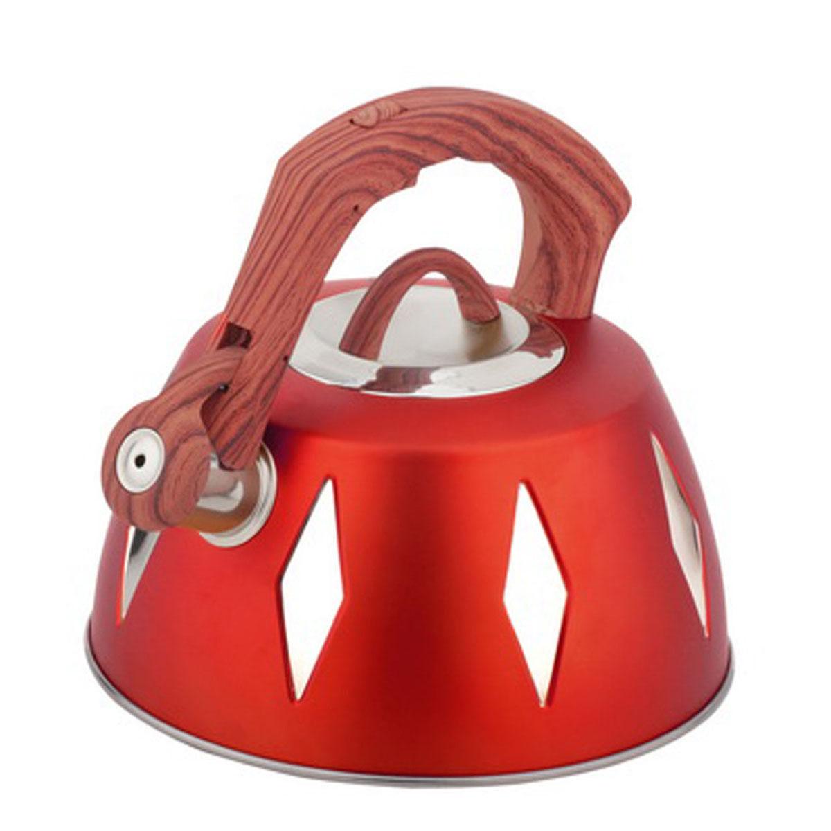 Чайник Bohmann со свистком, 3,5 л, цвет: красный68/5/4Чайник Bohmann изготовлен из высококачественной нержавеющей стали с цветным матовым покрытием. Нержавеющая сталь - материал, из которого в течение нескольких десятилетий во всем мире производятся столовые приборы, кухонные инструменты и различные аксессуары. Этот материал обладает высокой стойкостью к коррозии и кислотам. Прочность, долговечность и надежность этого материала, а также первоклассная обработка обеспечивают практически неограниченный запас прочности и неизменно привлекательный внешний вид. Капсульное дно позволяет изделию быстро нагреваться и дольше сохранять тепло. Чайник оснащен фиксированной прорезиненной цветной ручкой, что предотвращает появление ожогов и обеспечивает безопасность использования. Носик чайника имеет откидной свисток, который подскажет, когда вода закипела. Можно использовать на газовых, электрических, галогенных, стеклокерамических, индукционных плитах. Можно мыть в посудомоечной машине. Высота чайника (без учета ручки и крышки): 11,2 см. Высота чайника (с учетом ручки): 20 см. Диаметр основания чайника: 22,3 см. Диаметр чайника (по верхнему краю): 9,5 см.