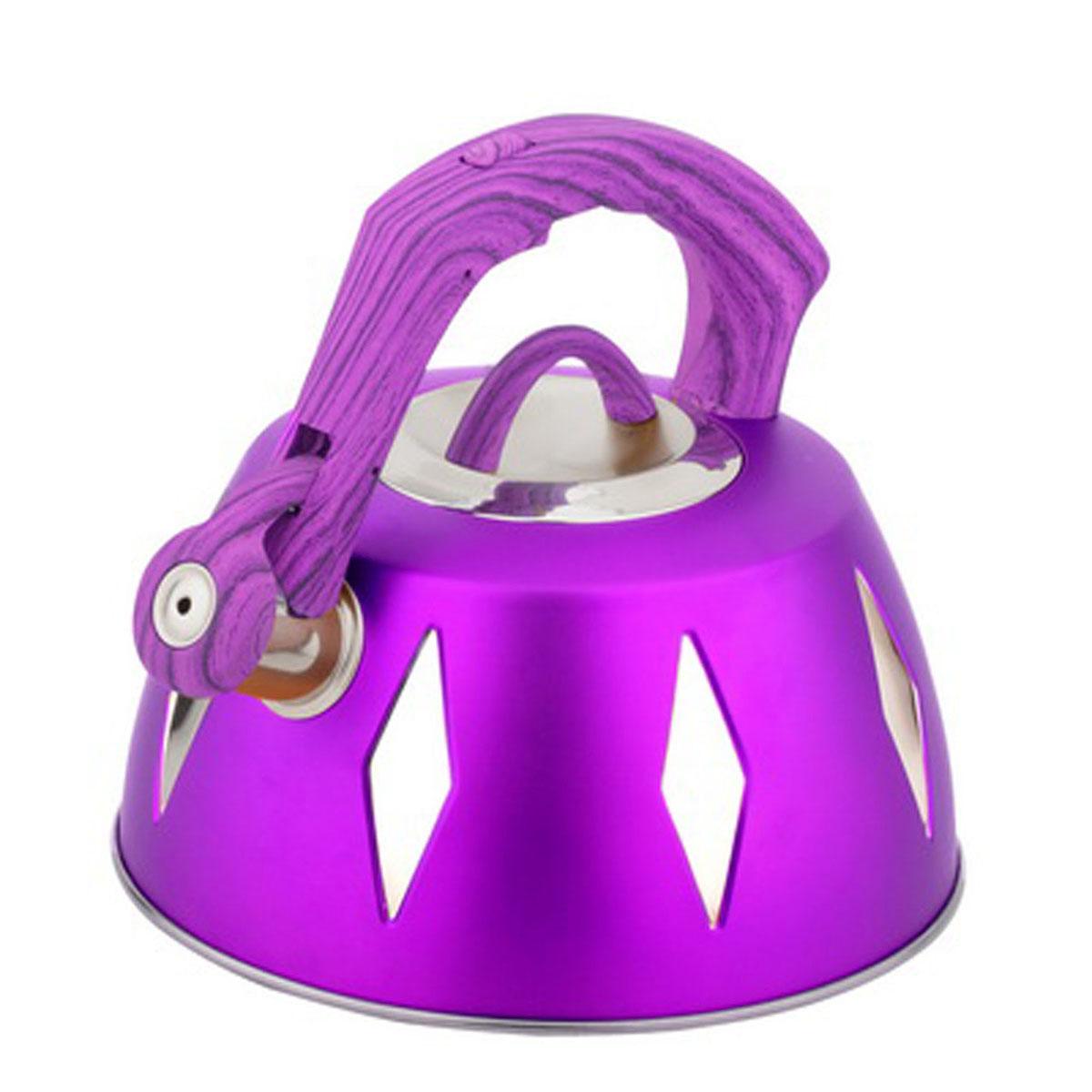Чайник Bohmann со свистком, 3,5 л, цвет: фиолетовый115510Чайник Bohmann изготовлен из высококачественной нержавеющей стали с цветным матовым покрытием. Нержавеющая сталь - материал, из которого в течение нескольких десятилетий во всем мире производятся столовые приборы, кухонные инструменты и различные аксессуары. Этот материал обладает высокой стойкостью к коррозии и кислотам. Прочность, долговечность и надежность этого материала, а также первоклассная обработка обеспечивают практически неограниченный запас прочности и неизменно привлекательный внешний вид. Капсульное дно позволяет изделию быстро нагреваться и дольше сохранять тепло. Чайник оснащен фиксированной прорезиненной цветной ручкой, что предотвращает появление ожогов и обеспечивает безопасность использования. Носик чайника имеет откидной свисток, который подскажет, когда вода закипела. Можно использовать на газовых, электрических, галогенных, стеклокерамических, индукционных плитах. Можно мыть в посудомоечной машине. Высота чайника (без учета ручки и крышки): 11,2 см. Высота чайника (с учетом ручки): 20 см. Диаметр основания чайника: 22,3 см. Диаметр чайника (по верхнему краю): 9,5 см.