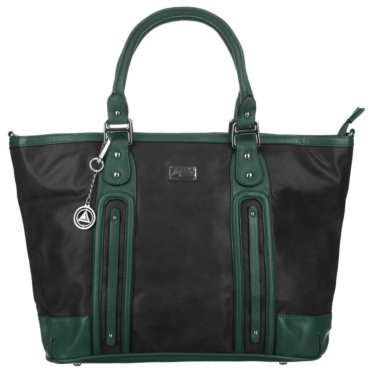 Сумка женская Leighton, цвет: черный, зеленый. 4978-339/01/275/38S76245Стильная женская сумка Leighton изготовлена из высококачественной искусственной кожи. Сумка состоит из одного отделения, разделенного пополам карманом-средником на застежке-молнии. Внутри располагается два накладных открытых кармана и прорезной карман на застежке-молнии. Снаружи на задней стенке находится прорезной карман на застежке-молнии. Сумка оснащена двумя удобными ручками. В комплект входит съемный плечевой ремень, регулирующийся по длине и металлический брелок с логотипом производителя. Основание сумки защищено металлическими ножками, обеспечивающими необходимую устойчивость. Сумка упакована в фирменный чехол. Сумка Leighton - это практичный и модный аксессуар, который станет функциональным дополнением к любому стилю.