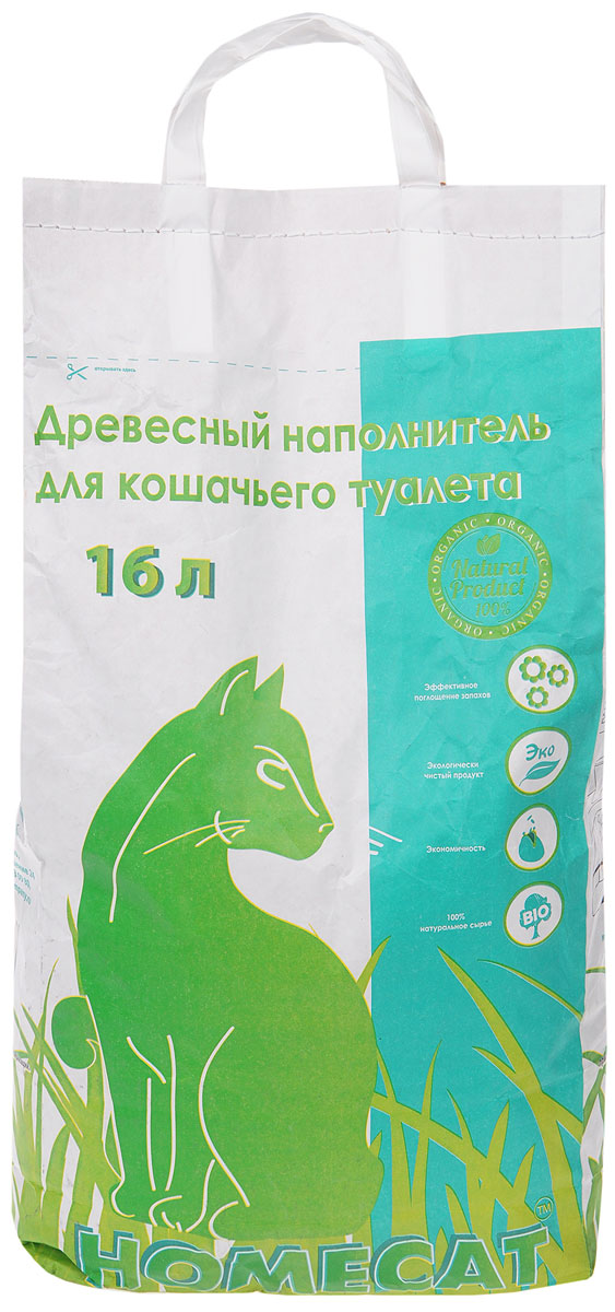 Homecat Древесный наполнитель мелкие гранулы, 16 л