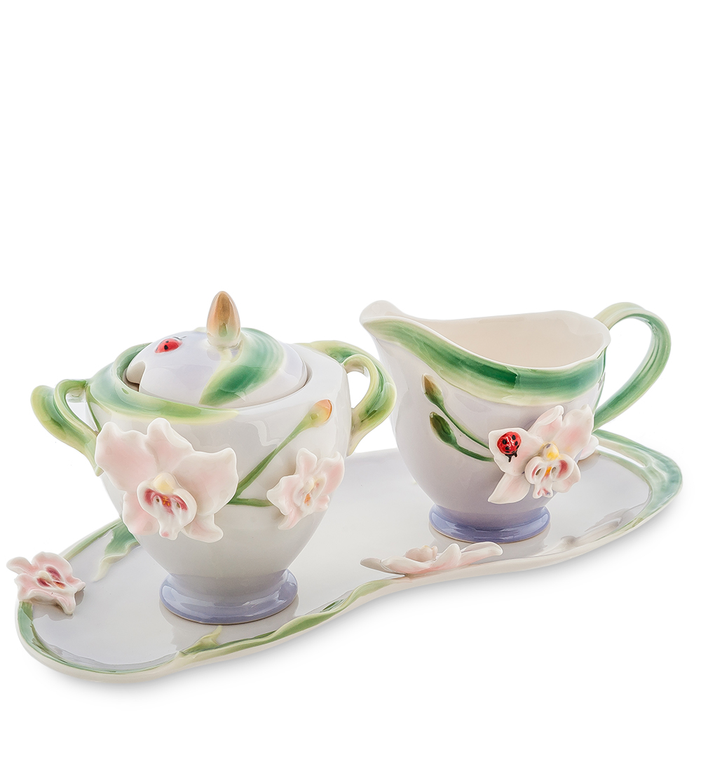 Набор Pavone Орхидея, 3 предмета115510Набор Pavone Орхидея состоит из сахарницы, молочника и подноса,изготовленных из фарфора. Предметы набора оформленыизящными объемными цветами.Набор Pavone Орхидея украсит ваш кухонный стол, а такжестанет замечательным подарком друзьям и близким.Изделие упаковано в подарочную коробку с атласной подложкой. Объем сахарницы: 200 мл.Объем молочника: 150 мл.Размеры подноса: 28 х 13 см.