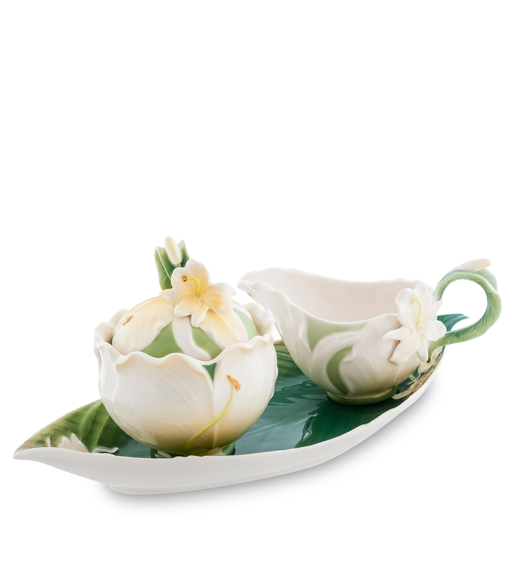Набор Pavone Лилия, 3 предмета104302Набор Pavone Капок состоит из сахарницы, молочника и подноса,изготовленных из фарфора. Предметы набора оформленыизящными объемными цветами.Набор Pavone Лилия украсит ваш кухонный стол, а такжестанет замечательным подарком друзьям и близким.Изделие упаковано в подарочную коробку с атласной подложкой. Объем сахарницы: 250 мл.Объем молочника: 200 мл.Размеры подноса: 31 х 15 см.