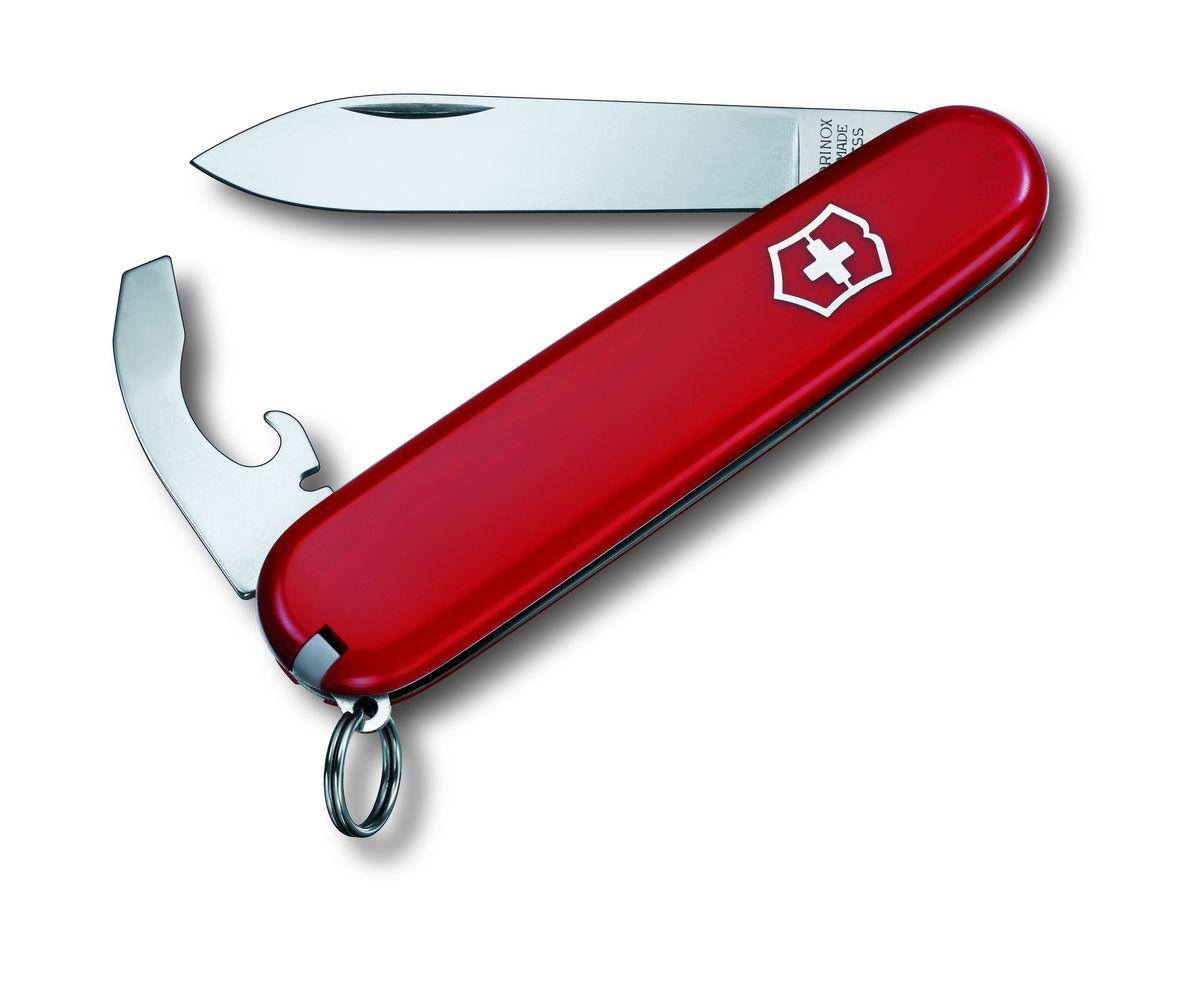 Нож перочинный Victorinox Bantam, 8 функций, длина 8,4 см0.2303Лезвие перочинного складного ножа Victorinox Cigar изготовлено из высококачественной нержавеющей стали. Ручка, выполненная из прочного пластика, обеспечивает надежный и удобный хват.Хорошее качество, надежный долговечный материал и эргономичная рукоятка - что может быть удобнее на природе или на пикнике!Функции ножа:Лезвие.Кольцо для ключей.Пинцет. Зубочистка. Открывалка для бутылок. Консервный нож. Отвертка. Инструмент для изоляции.Длина ножа в сложенном виде: 8,4 см.Длина ножа в разложенном виде: 17,5 см.Длина лезвия ножа: 5,5 см.