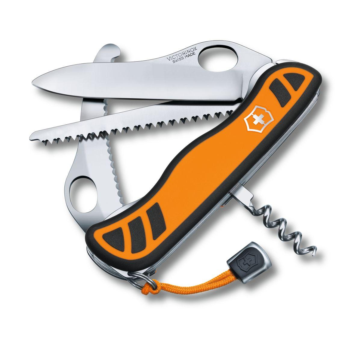 Нож перочинный Victorinox Hunter XT 0.8341.MC9, цвет: оранжевый, черный0.8341.MC9Перочинный нож HUNTER XT имеет 6 функций: 1. Фиксирующееся лезвие с петлёй для открывания одной рукой 2. Штопор 3. Большое фиксирующееся лезвие для разделки туш 4. Пила по дереву5. Кольцо для ключей 6. Шнурок на рукуЦвет рукояти: жёлтый/чёрный