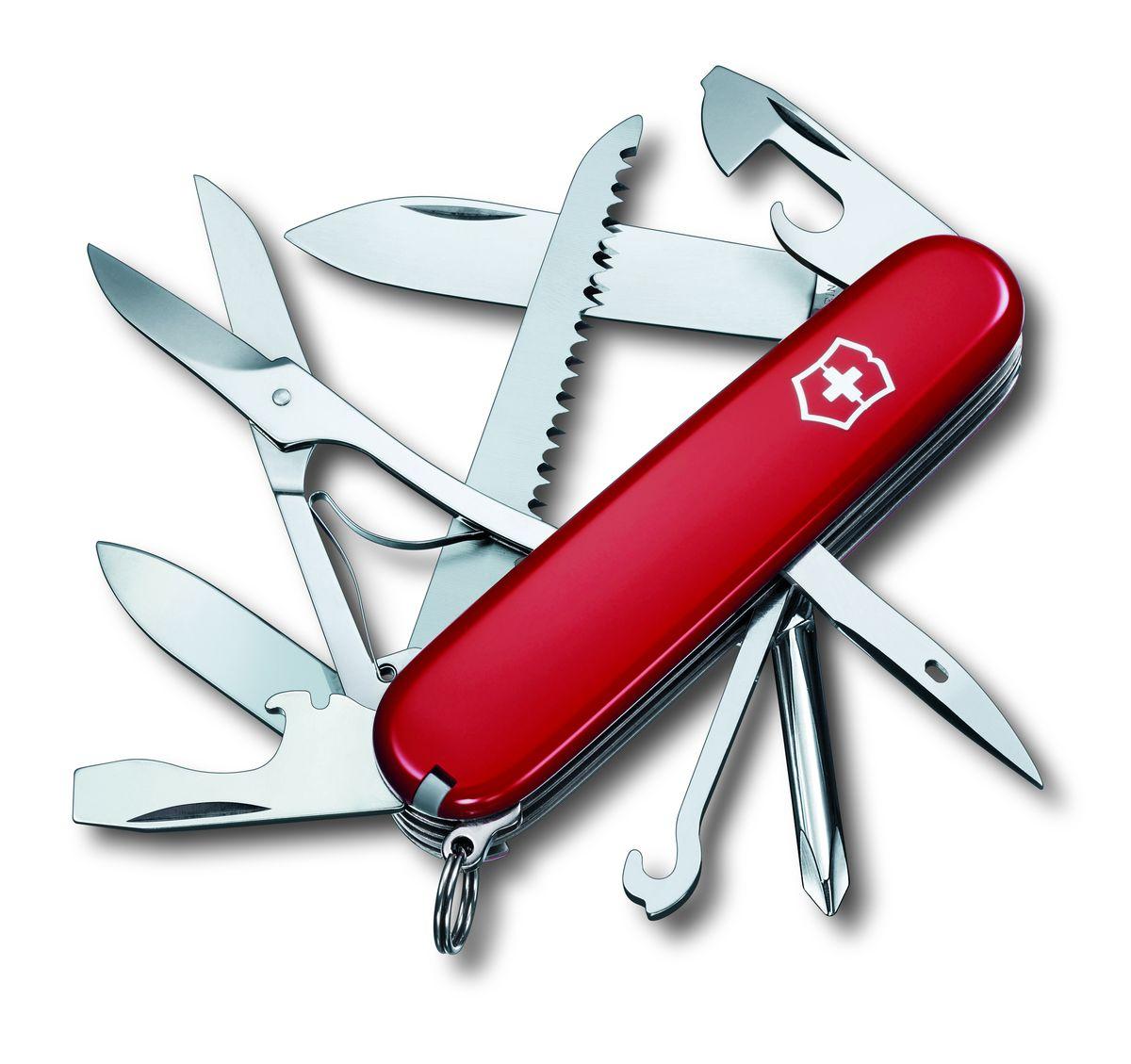 Нож перочинный Victorinox Fieldmaster, цвет: красный, длина 9,1 см1.4713Складной нож Victorinox Fieldmaster пригодиться в походе . Изделие представляет собой компактный многофункциональный инструмент. Все инструменты в закрытом виде располагаются в рукояти, каждый в своей ячейке или специальных пазах. Рукоять ножа выполнена из нейлона. Все функциональные элементы изделия сделаны из высококачественной стали, потому не требуют особого за собой ухода. Функции ножа: Большое лезвие.Малое лезвие.Крестовая отвертка.Консервный нож.Малая отвертка.Открывалка для бутылок.ОтверткаИнструментом для снятия изоляции.Шило, кернер.Кольцо для ключей.Пинцет.Зубочистка.Ножницы.Многофункциональный крючок.Пила по дереву.