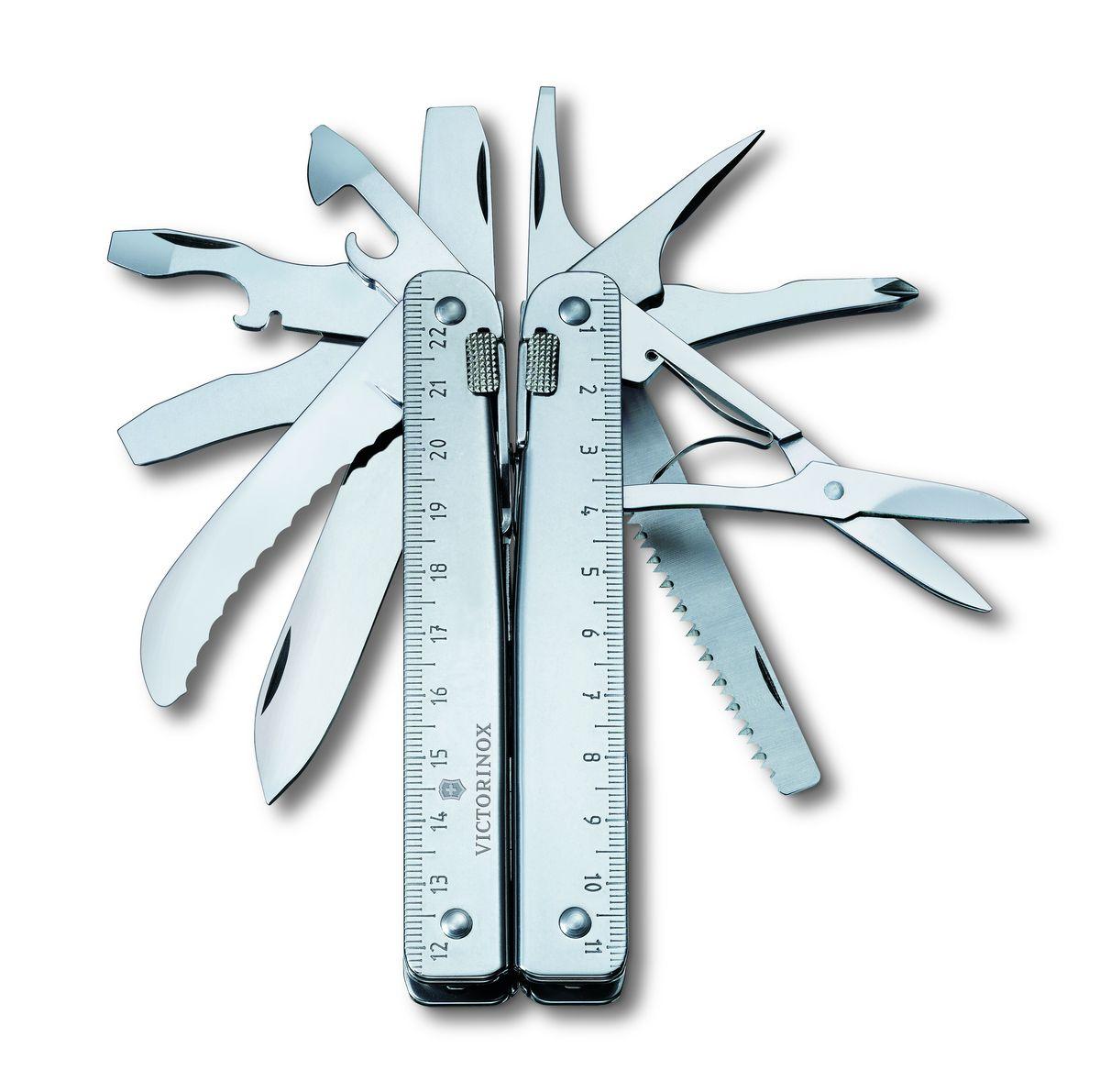 Мультитул Victorinox SwissTool RS, цвет: стальной, 27 функций, 11,5 см3.0326.NМультитул Victorinox SwissTool RS выполнен из высококачественной нержавеющей стали. Он имеет стильный дизайн и эргономичную рукоятку. Мультитул включает в себя 27 функций.Поставляется в комплекте с нейлоновым чехлом.Функции:Плоскогубцы.Отвертка 2 мм, 3 мм, 5 мм, 7,5 мм.Кусачки для проволоки (твердостью не более 40 HRc).Открывалка для бутылок.Лезвие.Ножницы.Лезвие для разрезания ремня.Пила по металлу.Пила по дереву.Шило с режущей кромкой.Крестообразная отвертка 1+2.Стамеска.Долото.Приспособление для сгибания проволоки.Приспособление для зачистки проводов.Проволочный скребок.Консервный нож.Линейка сантиметровая (23 см).Линейка дюймовая (9 дюймов).Обжимные щипцы.Кусачки для твердой проволоки.Отверстие для страховочного провода.Индивидуальные пружины.Фиксатор.Длина в сложенном виде: 11,5 см.Длина в разложенном виде: 17 см.