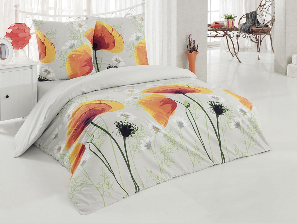 Комплект белья Tete-a-Tete Classic Акварель, 1,5-спальный, наволочки 70х70, цвет: светло-серый, оранжевый, желтый. К-8074K100Комплект постельного белья Tete-a-Tete Classic Акварель является экологически безопасным для всей семьи, так как выполнен из бязи (100% натурального хлопка). Гладкая структура делает ткань приятной на ощупь, мягкой и нежной, при этом она прочная и хорошо сохраняет форму. Ткань легко гладится, не линяет и не садится. Комплект состоит из пододеяльника, простыни и двух наволочек. Изделия оформлены цветочным принтом. Комплект постельного белья Tete-a-Tete Classic Акварель станет отличным дополнением вашего интерьера и подарит гармоничный сон.