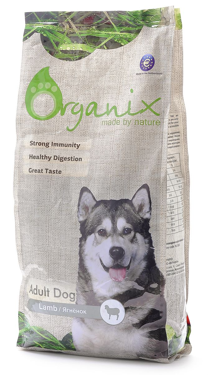 Корм для собак Organix, с ягненком для чувствительного пищеварения (Adult Dog Lamb), 12 кг19334Ваша собака несомненно влюбится в него с первой гранулы. Восхитительно вкусный и полезный, этот 100% натуральный корм НЕ содержит никаких искусственных добавок и ГМО, а так же пшеницу, кукурузу и сою! Дополнительный источник клетчатки в виде свеклы улучшает работу ЖКТ. Пивные дрожжи сделают шерсть блестящей, а кожу здоровой. Сбалансированный комплекс витаминов и минералов и льняное семя способствуют укреплению иммунитета.Входящие в состав хондроитин и глюкозамин позаботятся о костях и суставах вашего любимца!Содержит лецитин для здоровья печени.Инулин нормализует микрофлору кишечника.L-карнитин увеличивает выносливость собаки при физических нагрузках и контролирует оптимальный вес собаки. Состав: дегидрированное мясо ягненка, цельный рис, обработанные ядра ячменя, рыбная мука, мякоть свеклы (для улучшения работы ЖКТ), льняное семя, куриный жир, гидролизованная куриная печень, пивные дрожжи (источник здоровья шерсти и кожи),гидролизованные хрящи (источник хондроитина), гидролизат ракообразных (источник глюкозамина), L -карнитин, лецитин, инулин (ФОС). Гарантированный анализ: Белки23 % , Жиры10 % , Клетчатка2,5 % , Зола6,5 % , Влажность10 % , Фосфор1 % , Кальций1,5 %. Витамины: Витамин A20 000 IU/kg, Витамин D32 000 IU/kg, Витамин E*75 mg/kg, Витамин C20 mg/kg, Сульфат меди5 mg/kg, Таурин1000mg/kg, Сульфат кобальта 1 mg/kg, Иодид кальция1,5 mg/kg, Сульфат марганца35 mg/kg, Сульфат цинка65 mg/kg, Селенит натрия0,2 mg/kg. Условия хранения: в прохладном темном месте.