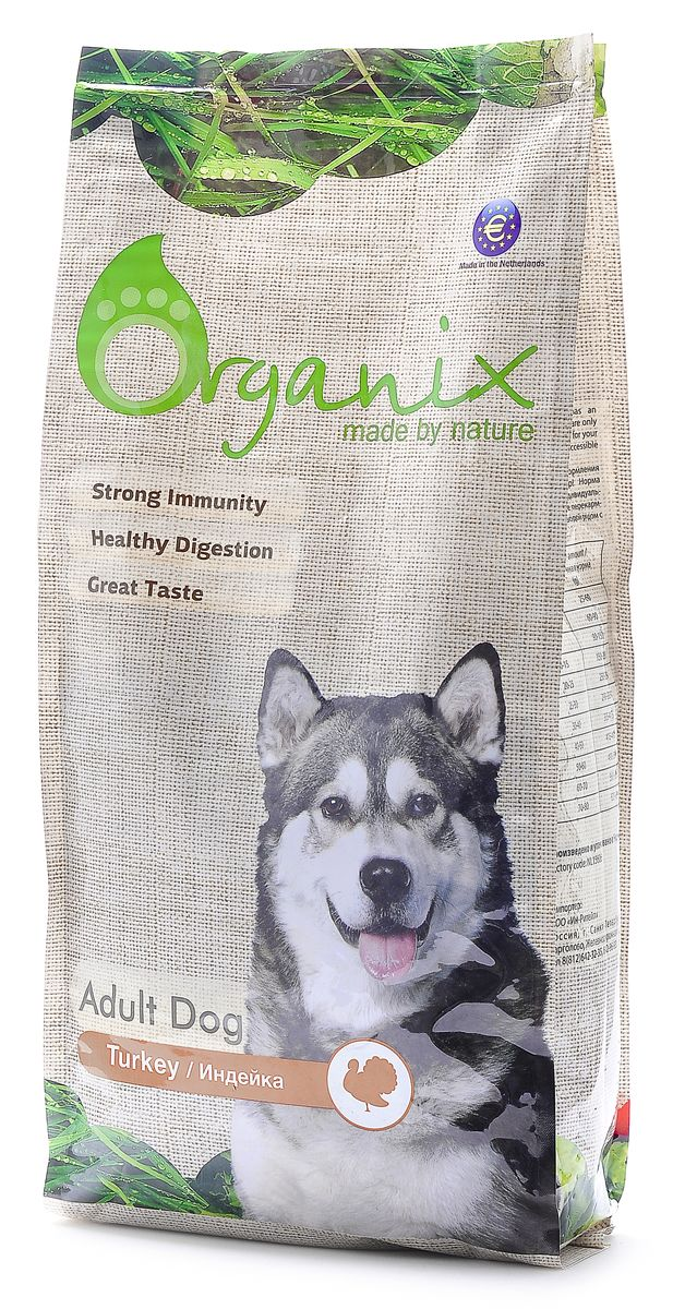 Корм для собак Organix, с индейкой для чувствительного пищеварения (Adult Dog Turkey), 12 кг0120710Organix с индейкой разработан специально для собак с чувствительным пищеварением или пищевой непереносимостью. Корм нормализует микрофлору кишечника и улучшает работу ЖКТ. Идеально подходит для собак, склонных к аллергическим реакциям. 100 % натуральный, Organix НЕ содержит никаких искусственных добавок и ГМО, а так же пшеницу, сою и субпродукты! Пивные дрожжи придают блеск и шелковистость шерсти и являются важным ингредиентом для здоровья кожи. Сбалансированный комплекс витаминов и минералов и льняное семя способствуют укреплению иммунитета.Входящие в состав хондроитин и глюкозамин укрепляют кости и суставы вашего любимца! Содержит лецитин для здоровья печени. Инулин и дополнительный источник клетчатки в виде свеклы заботится о здоровье кишечника вашей собаки.L-карнитин увеличивает выносливость собаки при физических нагрузках и контролирует оптимальный вес собаки. Состав: маис, дегидрированное мясо индейки, рис, мякоть свеклы (для улучшения работы ЖКТ), куриный жир, гидролизованная куриная печень, семена льна, кэроб, рыбная мука, пивные дрожжи (источник здоровья шерсти и кожи), яичный порошок, минералы и витамины, гидролизованные хрящи (источник хондроитина), гидролизат ракообразных (источник глюкозамина), L- карнитин, лецитин, инулин (FOS). Гарантированный анализ: Белки 18 % , Жиры8 % , Клетчатка3 % , Зола4 % , Влажность10 % , Фосфор 0,7 % , Кальций0,9 %. Витамины: Витамин A 20 000 ME/kg, Витамин D3 2 000 ME/kg, Витамин E*200 mg/kg, Витамин C 70 mg/kg, Железо 50 mg/kg, Йод 1,5mg/kg, Кобальт1 mg/kg, Медь 5 mg/kg, Марганец 35 mg/kg, Цинк 65 mg/kg, Селен 0,3 mg/kg. Условия хранения: в прохладном темном месте.