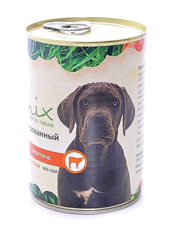 Консервы для собак Organix, телятина, 410 г0120710Консервы для собак Organix - вкусный консервированный корм для собак с говядиной и сердцем. Изготовлен из 100% свежего мяса различного вида. Не содержит сои, красителей и консервантов.Корм разработан для обеспечения всех питательных потребностей взрослых собак.Состав: печень свиная, рубец, телятина, масло растительное, мука костная, стабилизатор Е 472с, соль, вода. В 100 граммах продукта: белок - не менее 7 г, жир - не более 8 г.Товар сертифицирован.