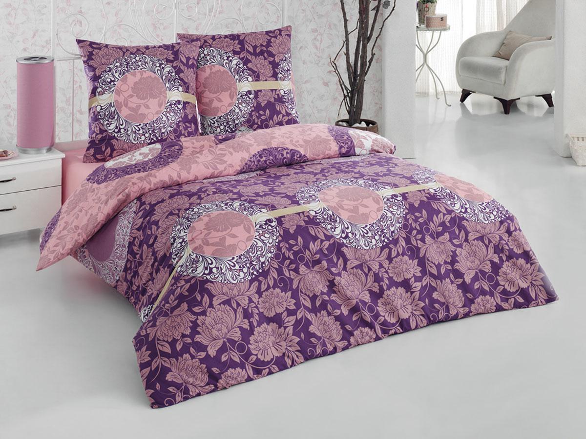 """Комплект белья Tete-a-tete Classic """"Нега"""", евро, наволочки 70х70, цвет: фиолетовый, сиреневый, темно-розовый"""