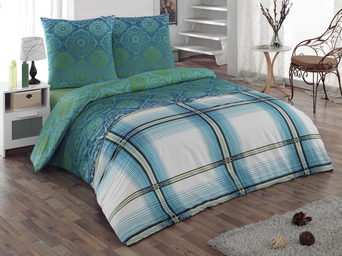 Комплект белья Tete-a-tete Classic Эффект, семейный, наволочки 70х70, цвет: бирюзовый, зеленый, белый. К-8072562110/1Комплект постельного белья Tete-a-tete Classic Эффект является экологически безопасным для всей семьи, так как выполнен из бязи (100% натурального хлопка). Гладкая структура делает ткань приятной на ощупь, мягкой и нежной, при этом она прочная и хорошо сохраняет форму. Ткань легко гладится, не линяет и не садится. Комплект состоит из двух пододеяльников, простыни и двух наволочек. Изделия оформлены оригинальным принтом. Комплект постельного белья Tete-a-Tete Classic Эффект станет отличным дополнением вашего интерьера и подарит гармоничный сон.