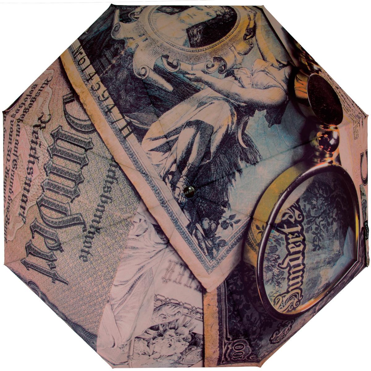 Зонт женский Flioraj Банкноты, механический, 5 сложений, коричневый, зеленый