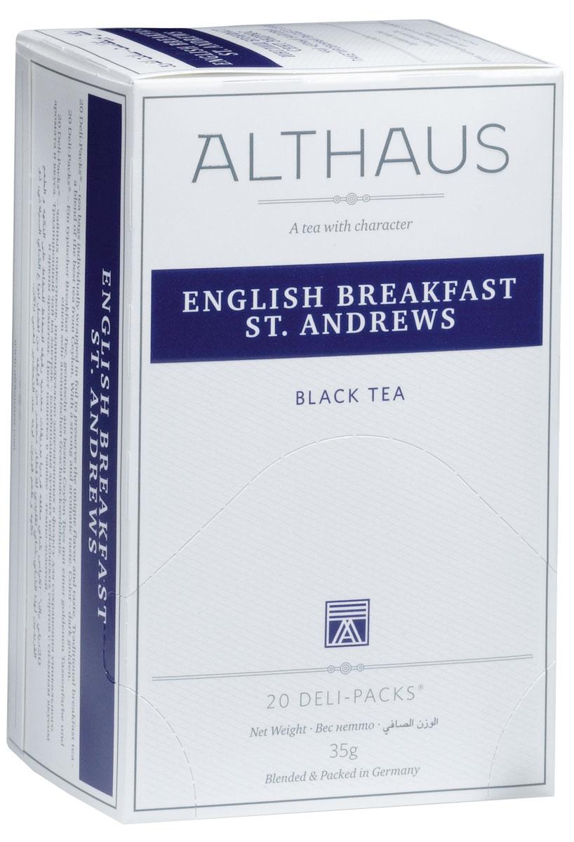 Althaus English Breakfast St. Andrews чай черный в пакетиках, 20 шт0120710English Breakfast St. Andrews - купаж из лучших сортов цейлонского чая. Оригинальный рецепт, придуманный более ста лет назад, сегодня стал классическим утренним чаем. English Breakfast славится своим крепким насыщенным вкусом и ярким ароматом, его можно подавать с сахаром и сливками. Оптимальная температура заваривания English Breakfast St. Andrews: 95°С. В каждой упаковке находится по 20 пакетиков чая для чашек.Страна: Шри-Ланка. Температура воды: 85-100 °С. Время заваривания: 3-5 мин.Цвет в чашке: темно-золотой.Althaus - премиальная чайная коллекция.Чай, ингредиенты и ароматизаторы для своих купажей компания Althaus получает от тщательно выбираемых чайных садов, мировых поставщиков высококачественных сублимированных фруктов и трав, а также ведущих европейских производителей ароматизаторов. Пакетик Deli Pack представляет собой порционный двухкамерный мешочек из фильтр-бумаги, запаянный в специальный термоконверт с алюминиевой фольгой. Материал конвертов, в которые запаиваются мешочки с чаем Althaus состоит из четырех слоев:белая бумага с нанесением изображенияполиэтилен пониженной плотностиалюминиевая фольгаполипропилен.Благодаря такому составу упаковка Deli Packs исключает потерю первоначального вкуса и аромата чая в процессе транспортировки и хранения. Deli Packs прекрасно подходят для:домашнего использованияресторанов самообслуживаниябанкетовзавтраков в гостиницахлюбых других случаев, когда необходимо быстро и без особых усилий заварить чашку качественного чая.