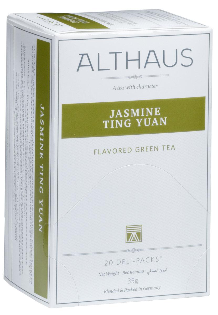 Althaus Jasminе Ting Yuan чай ароматизированный в пакетиках, 20 штTALTHB-DP0019Jasminе Ting Yuan — замечательный китайский зеленый чай с жасмином. Jasminе Ting Yuan (в переводе Жасминовый сад) производится вкитайской провинции Гуанси. Вкус этого чая — элегантный и ароматный. Легкий напиток превосходно сочетается с блюдами китайской кухни.Оптимальная температура заваривания Jasminе Ting Yuan 85°С.В каждой упаковке находится по 20 пакетиков чая для чашек.Страна: Китай.Температура воды: 75-85 °С.Время заваривания:2-3 мин. Цвет в чашке: зелено-желтый.Althaus - премиальная чайная коллекция.Чай, ингредиенты и ароматизаторы для своих купажей компания Althaus получает от тщательно выбираемых чайных садов, мировых поставщиков высококачественных сублимированных фруктов и трав, а также ведущих европейских производителей ароматизаторов. Пакетик Deli Pack представляет собой порционный двухкамерный мешочек из фильтр-бумаги, запаянный в специальный термоконверт с алюминиевой фольгой. Материал конвертов, в которые запаиваются мешочки с чаем Althaus состоит из четырех слоев:белая бумага с нанесением изображенияполиэтилен пониженной плотностиалюминиевая фольгаполипропилен.Благодаря такому составу упаковка Deli Packs исключает потерю первоначального вкуса и аромата чая в процессе транспортировки и хранения. Deli Packs прекрасно подходят для:домашнего использованияресторанов самообслуживаниябанкетовзавтраков в гостиницахлюбых других случаев, когда необходимо быстро и без особых усилий заварить чашку качественного чая.