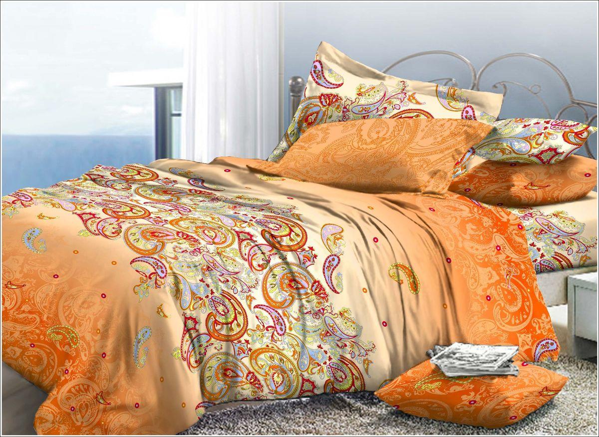 Комплект белья Диана La Vanille, 2-спальный, наволочки 70х70, цвет: молочный, оранжевый, красный. С-576-175-180-70CA-3505Комплект постельного белья Диана La Vanille состоит из пододеяльника, простыни и двух наволочек. Белье бесшовное, оформлено оригинальным узором и имеет изысканный внешний вид. Изготовлено из бязи люкс (100% хлопка).Бязь - это ткань из экологически чистого и натурального 100% хлопка. Неоспоримым плюсом белья из такой ткани является мягкость и легкость, она прекрасно пропускает воздух, приятна на ощупь, не образует катышков на поверхности и за ней легко ухаживать. При соблюдении рекомендаций по уходу это белье выдерживает много стирок, не линяет и не теряет свою первоначальную прочность. Уникальная ткань обеспечивает легкую глажку.Приобретая комплект постельного белья Диана La Vanille, вы можете быть уверенны в том, что покупка доставит вам и вашим близким удовольствие и подарит максимальный комфорт.