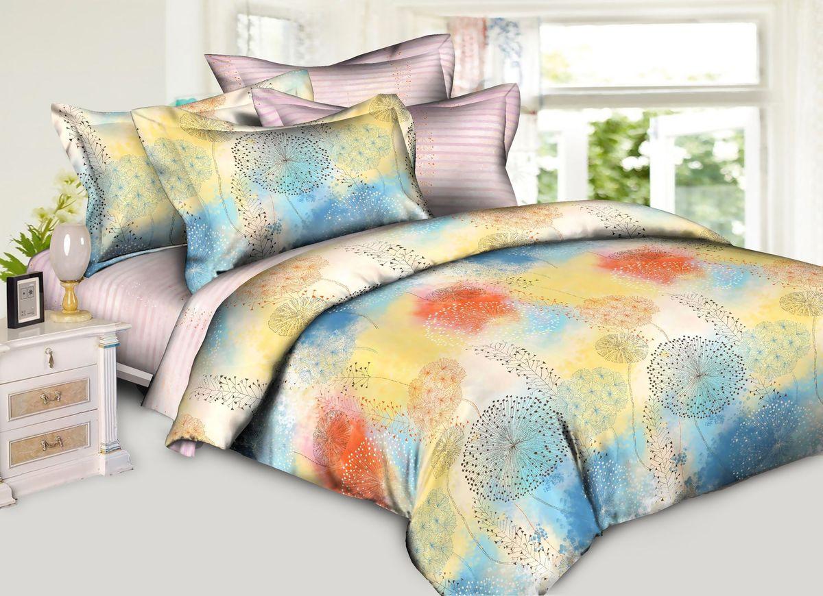 Комплект белья La Vanille, 1,5-спальный, наволочки 70х70, цвет: розовый, голубой, желтый391602Комплект постельного белья La Vanille, выполненный из поплина, состоит из пододеяльника, простыни и двух наволочек. Постельное белье оформлено красочным рисунком и имеет изысканный внешний вид. Поплин - представляет собой ткань с характерным репсовым эффектом, которая создается путем чередования тонких и толстых нитей. В ней содержатся и натуральные, и синтетические волокна, за счет чего готовая материя приобретает матовый, дорогой блеск.
