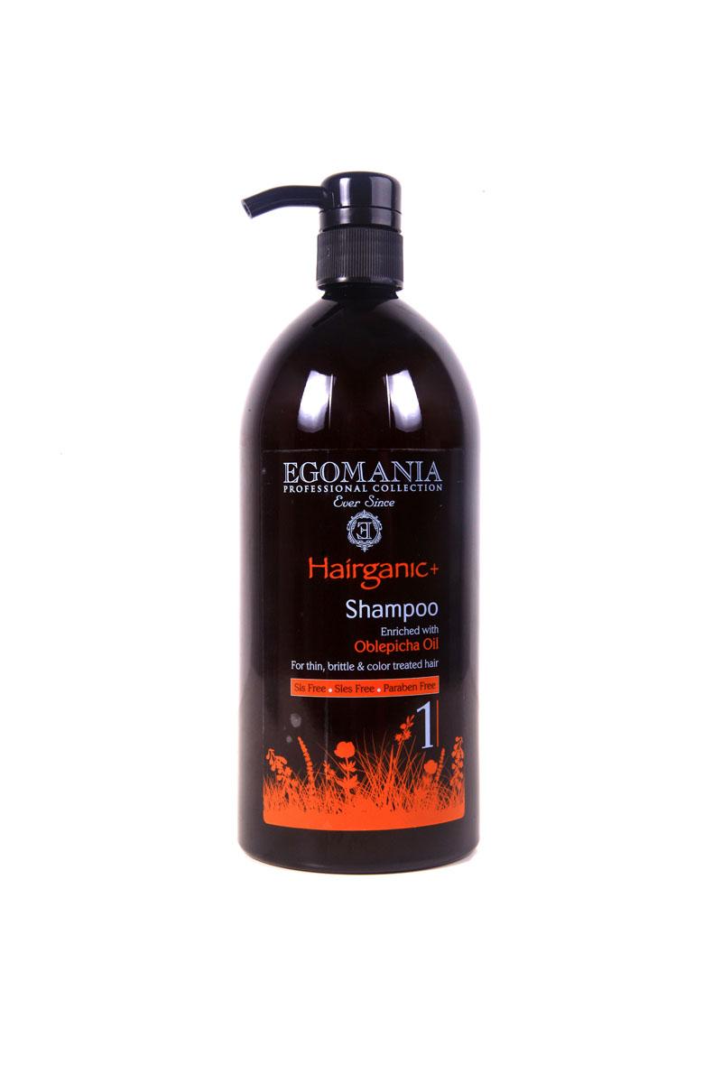 Egomania Professional Collection Шампунь  Hairganic+  с маслом облепихи для тонких, ломких и окрашенных волос 1000 млFS-00897Шампунь подходит для сухих, истонченных, ломких, окрашенных и поврежденных волос, проблемной кожи головы и для жирной структуры волос.Основным активным ингредиентом является масло облепихи, которое содержит в большом количестве аскорбиновую кислоту (витамин С), каротин (провитамин А), витамины В1,В3. Шампунь не только очищает структуру волос, но и снимает раздражение и зуд кожи головы, увлажняет волосы, делая их мягкими, послушными и блестящими. Шампунь эффективно очищает волосы и кожу головы, за счет окиси камеди и экстракта граната, растворяет жирные кислоты и нормализует работу сальных желез. Входящие в состав сок листьев алоэ и масло сладкого миндаля нормализуют водный баланс. Грязь Мертвого моря является естественным природным абсорбентом. Шампунь сохраняет цвет, способствуя закреплению искусственного пигмента, не вымывая его.