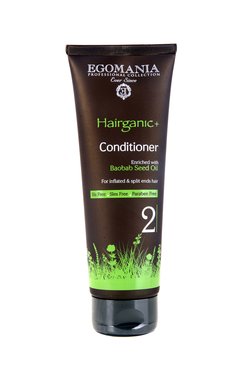 Egomania Professional Collection Кондиционер Hairganic+  с маслом баобаба для непослушных и секущихся волос 250 млFS-00897Благодаря содержанию масла баобаба, которое сохраняет влагу в сухих волосах, питает волосяные луковицы и защищает волосы от солнца и ветра, восстанавливает структуру секущихся волос, питает и разглаживает волосы, облегчает их расчесывание. После использования кондиционера волосы становятся мягкими, блестящими и послушными.Входящие в состав кондиционера протеины пшеницы помогают поддержать объем укладки, экстракты ромашки и розмарина регулируют работу сальных желез. Масло календулы и сок листьев алоэ регенерируют кутикулу волоса и плотно запечатывают ее.