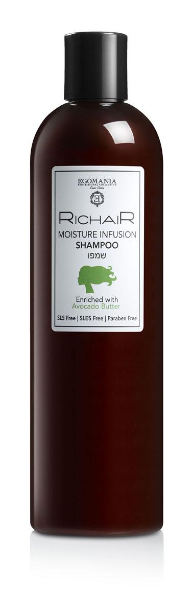 Egomania Professional Collection Шампунь «Richair» интенсивное увлажнение с маслом авокадо 400 млMP59.4DШампунь мягко очищает волосы, нормализует водный баланс волоса. Насыщенная формула шампуня специально разработана для максимального увлажнения волос.